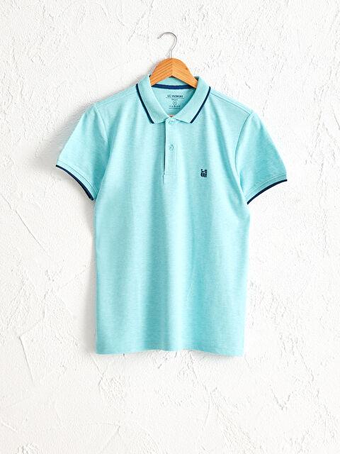 Basklı Polo Yaka Kısa Kollu Pike Tişört - LC WAIKIKI