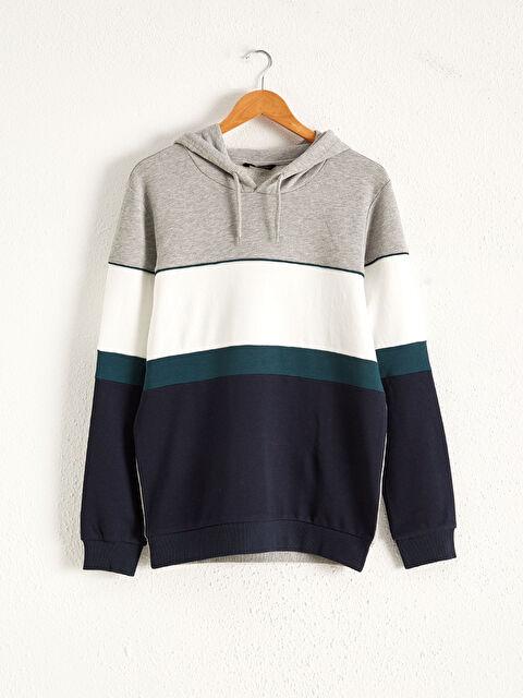Kapüşonlu Renk Bloklu Sweatshirt - LC WAIKIKI