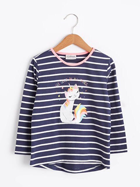 Kız Çocuk Baskılı Pamuklu Tişört - LC WAIKIKI