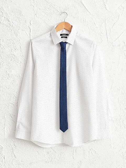 Slim Fit Uzun Kollu Gömlek ve Kravat - LC WAIKIKI