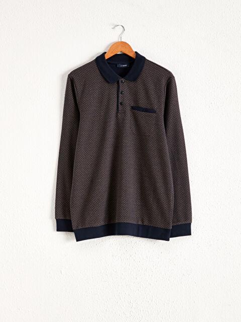 Polo Yaka Desenli Uzun Kollu Sweatshirt - LC WAIKIKI