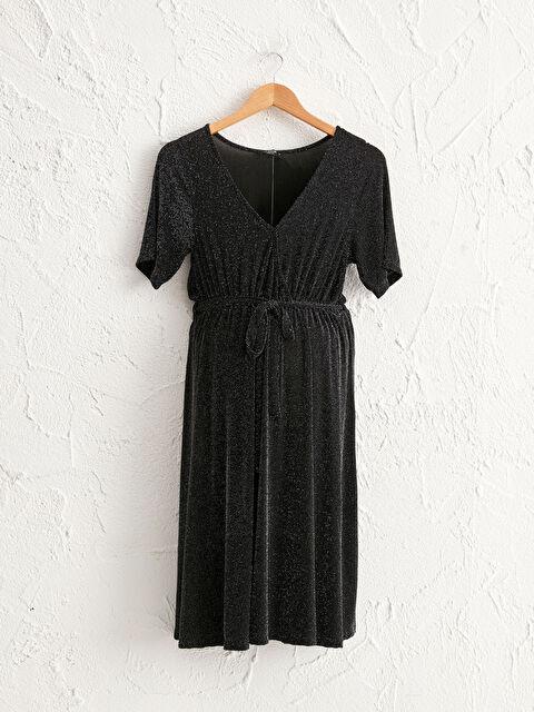 Dokulu Işıltılı Kumaştan Kruvaze Yaka Hamile Elbise - LC WAIKIKI