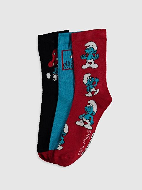 Erkek Çocuk Şirinler Desenli Soket Çorap 3'lü - LC WAIKIKI