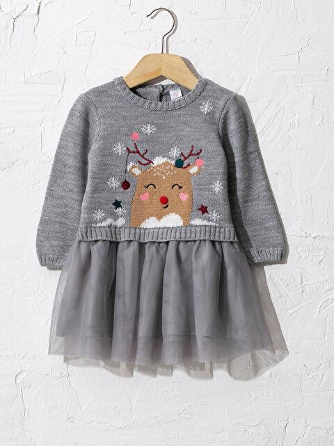 Kız Bebek Desenli Triko Elbise - LC WAIKIKI