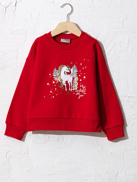 Kız Çocuk Baskılı Sweatshirt - LC WAIKIKI