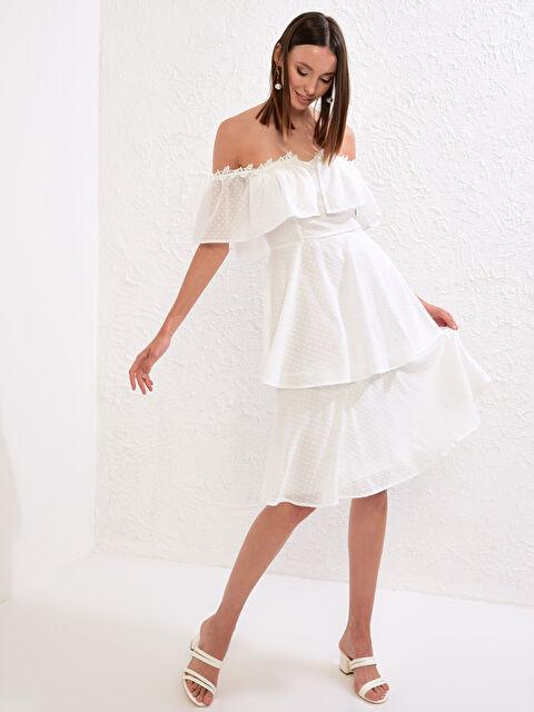 Save The Date Omuzları Açık Volanlı Elbise - LC WAIKIKI