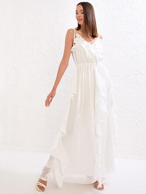 Save The Date Fırfır Detaylı Askılı Uzun Elbise - LC WAIKIKI