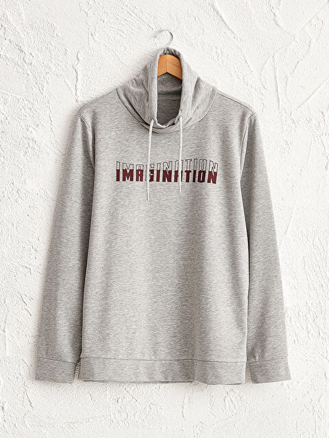 Regular Fit Dik Yaka Baskılı Kalın Sweatshirt - LC WAIKIKI