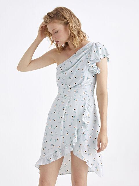 Tek Omuz Fırfır Detaylı Çiçek Desenli Elbise - LC WAIKIKI