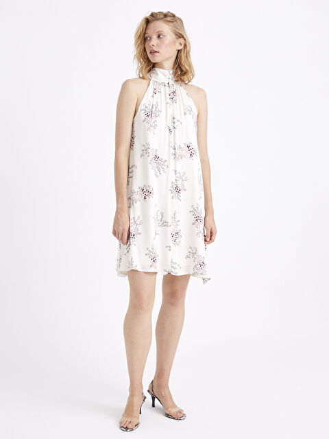 Halter Yaka Desenli Mini Elbise - LC WAIKIKI