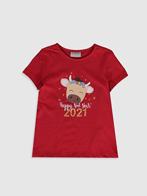 Kız Çocuk Yılbaşı Temalı Pamuklu Tişört - LC WAIKIKI