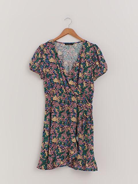 Çiçek Desenli Kruvaze Elbise - LC WAIKIKI