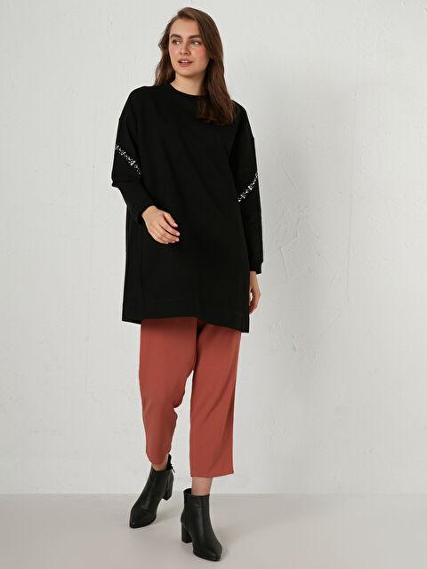 Kolları Aplike Baskılı Oversize Sweatshirt - LC WAIKIKI