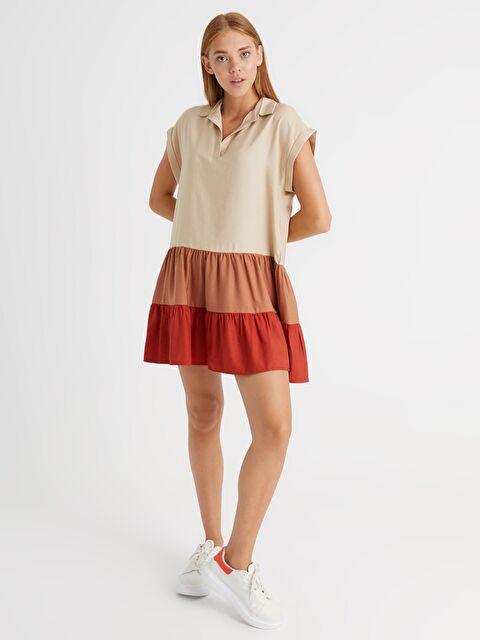 Dik Yaka Renk Bloklu Elbise - LC WAIKIKI