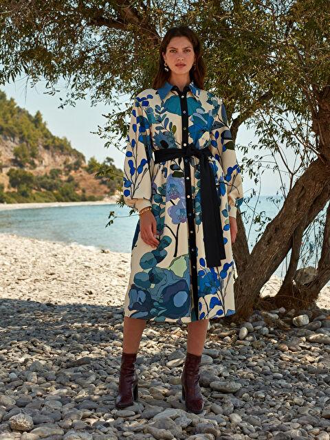 Oopscool Çiçek Desenli Kuşaklı Gömlek Elbise - LC WAIKIKI