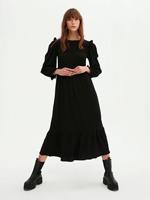 Yakası Büzgü Detaylı Elbise - LC WAIKIKI