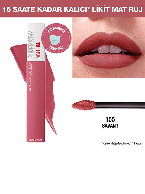 Maybelline New York Super Stay Matte Ink Likit Mat Ruj - 155 Savant - Nude/Pembe - Markalar