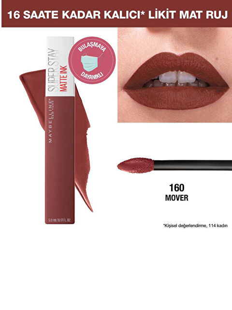 Maybelline New York Super Stay Matte Ink Likit Mat Ruj - 160 Mover - Kahverengi - Markalar