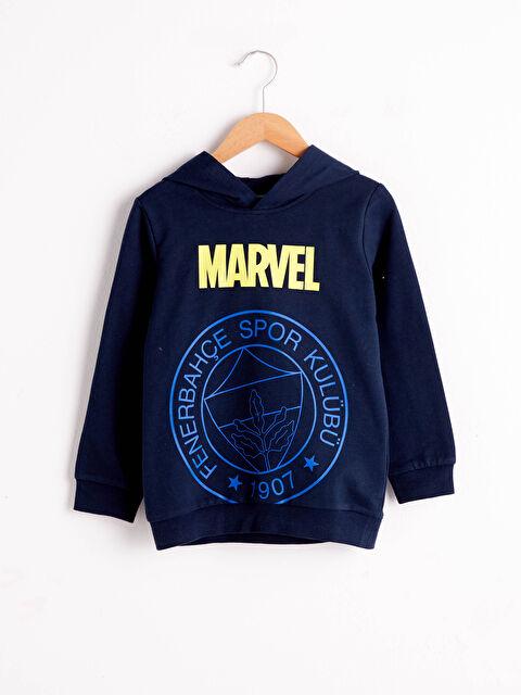 Erkek Çocuk Marvel Baskılı Kapüşonlu Sweatshirt - LC WAIKIKI