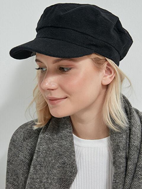 AXESOIRE Kaşe Siyah Siperli Şapka - Markalar