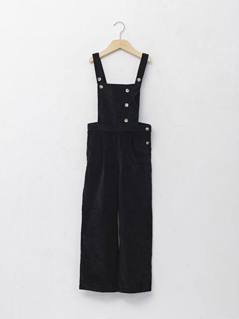 Square Collar Basic Velvet Girls Overalls - LC WAIKIKI