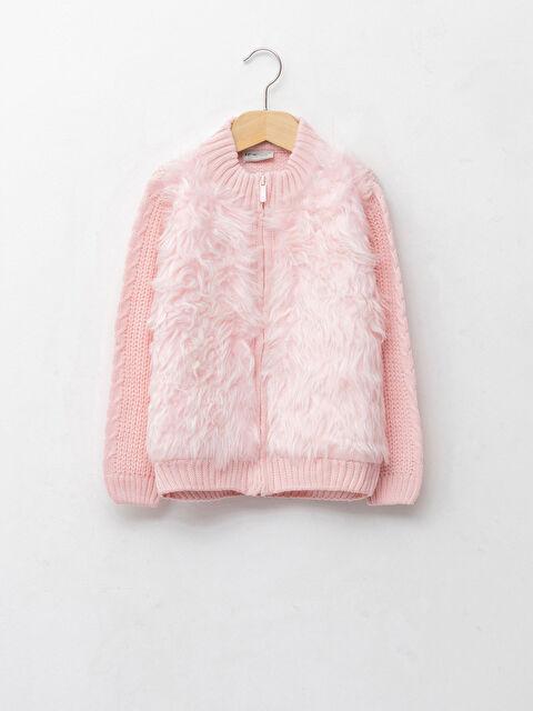 Crew Neck Plush Detailed Long Sleeve Girls' Knitwear Cardigan - LC WAIKIKI