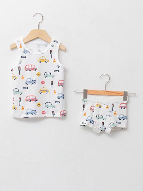 Crew Neck Printed Cotton Baby Boy Athlete and Boxer 2-Pack Set - LC WAIKIKI