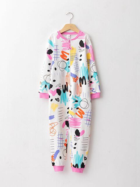 Crew Neck Printed Long Sleeve Girls Overalls - LC WAIKIKI