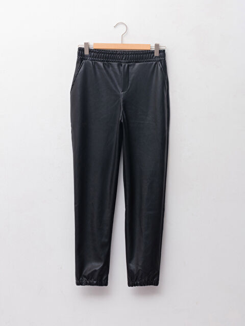 Basic Leather Look Girl's Trousers With Elastic Waist - LC WAIKIKI