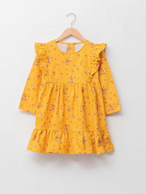 Crew Neck Patterned Long Sleeve Cotton Girls' Dress - LC WAIKIKI