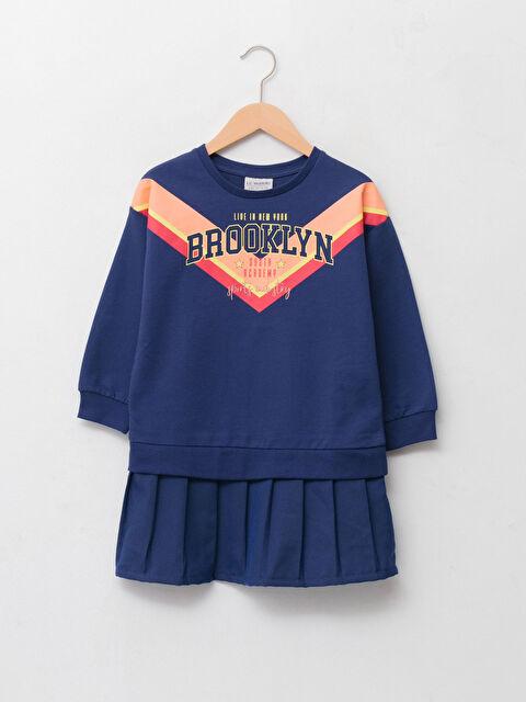 Crew Neck Printed Long Sleeve Girl's Dress - LC WAIKIKI