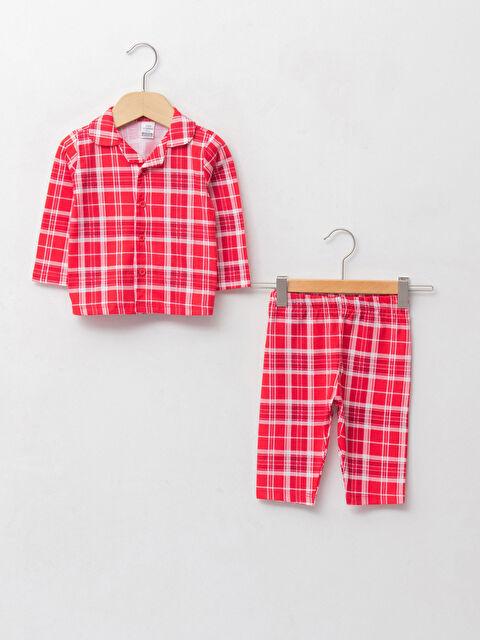 Polo Neck Long Sleeve Checked Patterned Cotton Baby Girl Pajamas Set - LC WAIKIKI