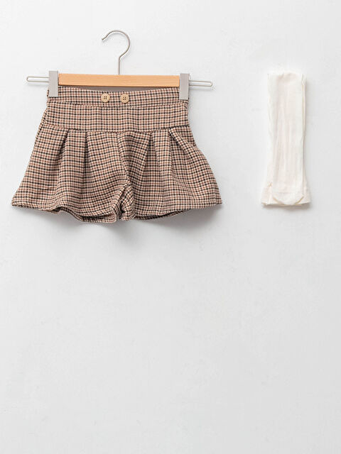 Elastic Waist Check Patterned Baby Girl Shorts Skirt and Pantyhose 2-Pack Set - LC WAIKIKI