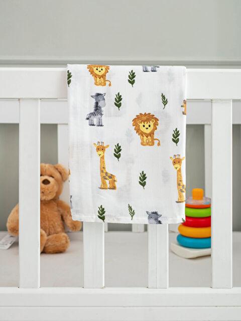 Printed Cotton Baby Boy Muslin Blanket 85x85 Cm - LCW HOME