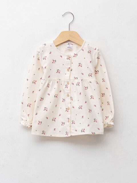 Crew Neck Patterned Long Sleeve Baby Girl Shirt - LC WAIKIKI