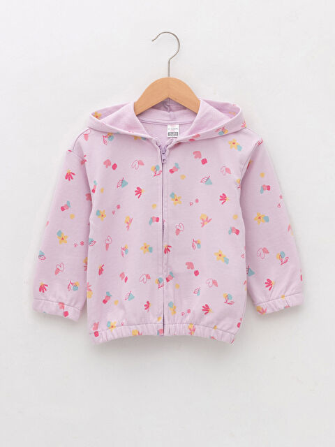 Hooded Long Sleeve Patterned Cotton Baby Girl Zipper Sweatshirt - LC WAIKIKI