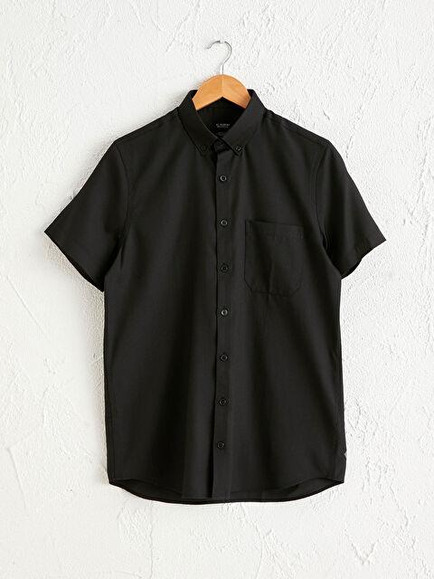Slim Fit Kısa Kollu Oxford Gömlek - LC WAIKIKI