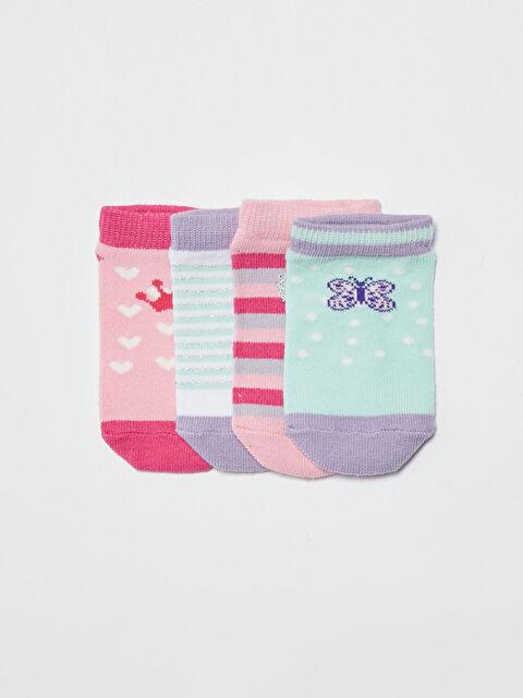 Printed Baby Girl Booties Socks 4 Pieces - LC WAIKIKI