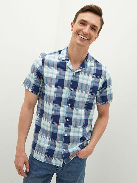 LCW CLASSIC Regular Fit Short Sleeve Plaid Poplin Men's Shirt - LC WAIKIKI