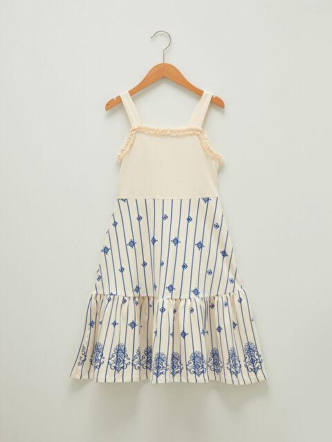 Square Neck Strap Patterned Cotton Girl Dress - LC WAIKIKI