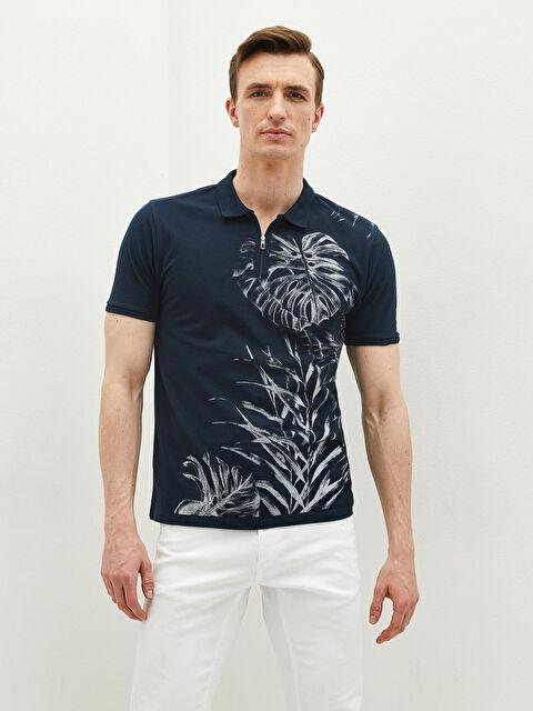LCW VISION Polo Neck Short Sleeve Printed Piqué Men's T-Shirt - LC WAIKIKI