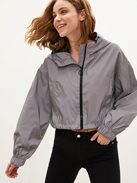 Hooded Reflector Zipper Closure Raincoat - LC WAIKIKI