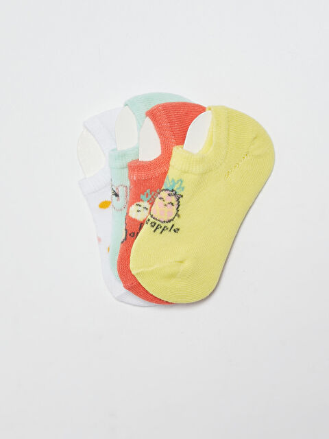 Printed Baby Girl Sneaker Socks 4 Pack - LC WAIKIKI