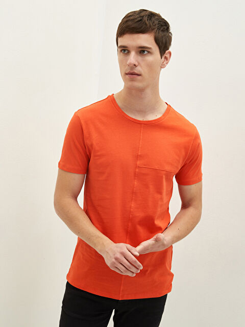 LCW CASUAL Crew Neck Short Sleeve Basic Combed Cotton Men's T-Shirt - LC WAIKIKI