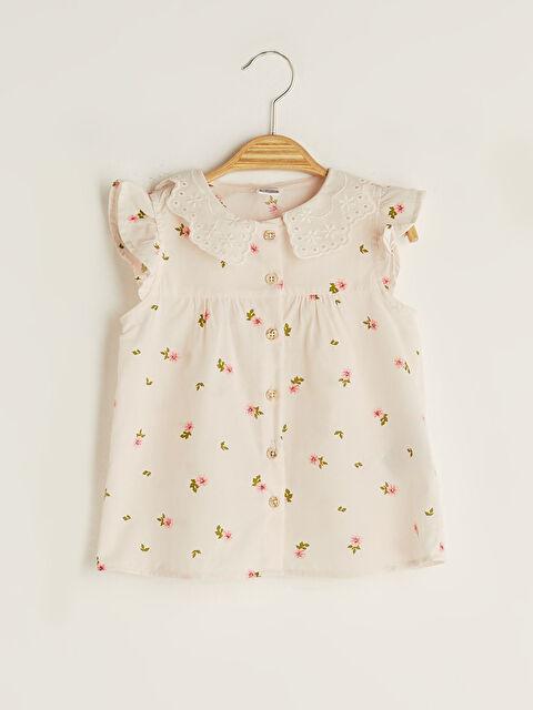 Crew Neck Printed Poplin Baby Girl Shirt - LC WAIKIKI