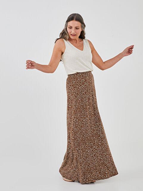 LCW GRACE Elastic Waist Patterned A-Cut Woman Skirt - LC WAIKIKI