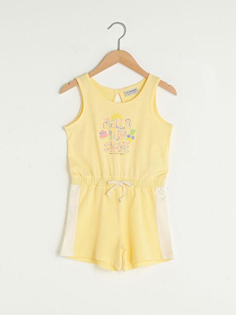 Crew Neck Printed Cotton Girl Short Jumpsuit - LC WAIKIKI