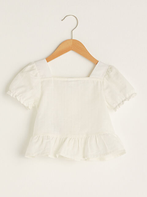 Square Neck Short Sleeve Button Detailed Baby Girl Blouse - LC WAIKIKI