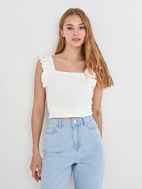 LCW LIMITED Square Neck Embroidered Ruffle Detail Women's Bustier - LC WAIKIKI