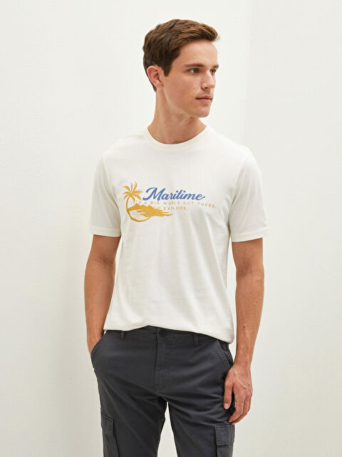 LCW CLASSIC Crew Neck Short Sleeve Printed Combed Cotton Men's T-Shirt - LC WAIKIKI